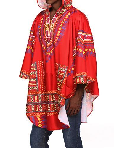 COOFANDY Mens Poncho Cape Hoodie African Print Dashiki Fashion Halloween Irregular Coat Pullover Cloak,Ponceau,X-Large -
