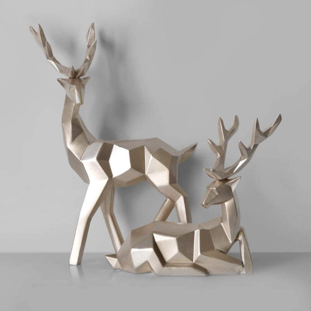 Creative Resin Deer Craft Gift For Home Decor Figurine Decoration Animal Statue Living Room Ornaments Sculpture