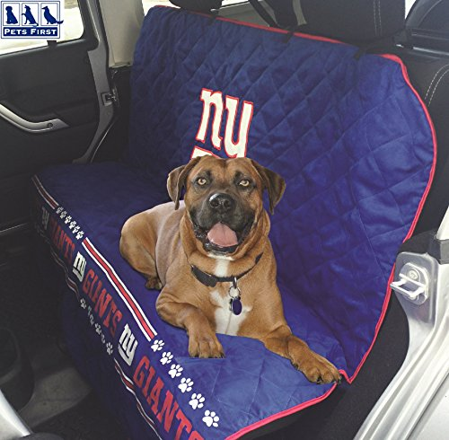 Pets First NFL CAR SEAT COVER - NEW YORK GIANTS Waterproof, Non-slip BEST Football LICENSED PET SEAT cover for DOGS & (Giants Car Seat Cover)