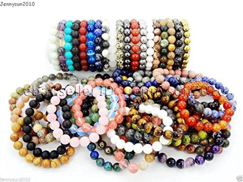Handmade 10mm Natural Gemstone Round Beads Stretchy Bracelet Healing Reiki - LENGTH SIZE 19Pcs Beads 7.5''