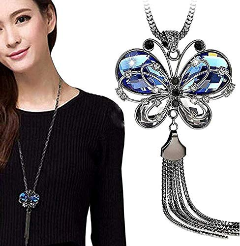 Shining Diva Fashion Jewellery Butterfly Pendent for Girls with Long Chain Pendant Party Necklace for Women & Girls(Blue)(9275np) product image