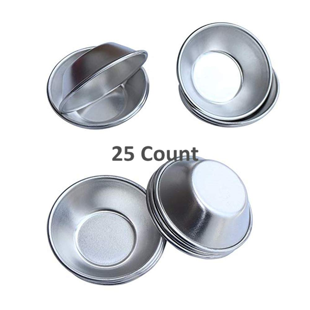 Pack of 25 Pcs Mini Tiny Pie Muffin Cupcake Pans Tin Egg Tart Mold Bakeware -NonStick Puto Cup by Weilan