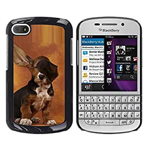 Design for Girls Plastic Cover Case FOR BlackBerry Q10 Dog Long Ears Basset Hound Brown Puppy OBBA