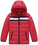 Wantdo Boy's Ultra Light Down Travel Jacket Hoodies Windbreaker Short Parka Outdoors(Oriental Red, 4/5)