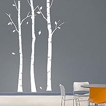 Happywallz Birch Tree Wall Sticker / Family Tree Wall Decals / DIY Large Birch Tree Wallpaper / DIY Removable Wall Decoration T14