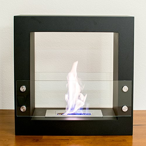 Genoa Freestanding Ventless Ethanol Fireplace. Tempered Safety Glass and Black Matte Finish. (Portable Ethanol Fireplace)