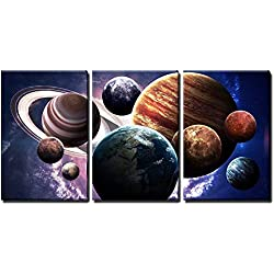 "wall26 Planets of The Solar System - Canvas Art Wall Decor - 16""x24""x3 Panels"