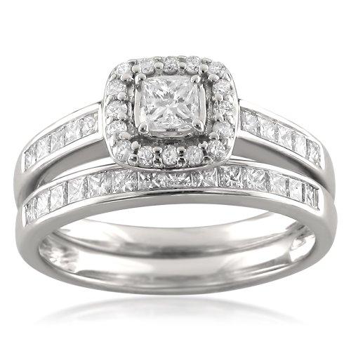 14k White Gold Princess-cut & Round Diamond Halo Engagement Bridal Set Wedding Ring (1 cttw, I-J, I1-I2), Size 7