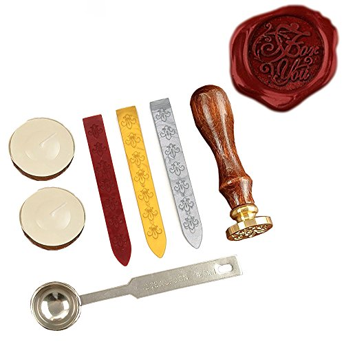Prestige Collection Letter - KI Store Wax Seal Stamp Kit FOR YOU Antique Alphabet Wax Sealing Stamps Set for Vintage Letter Envelope with Gold Red Silver Sticks