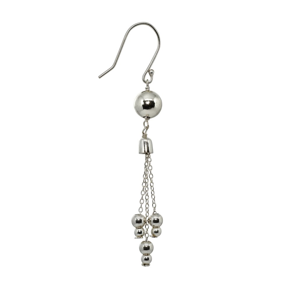 Sterling Silver Polished Small Beads Drop Fashion Dangle Earrings