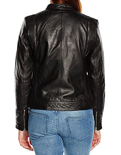 Para Negro Mujer Junction Leather Chaqueta aqx6RWz