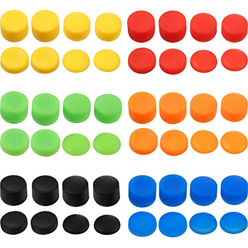 48 Pieces Thumb Grips Caps Silicone Replacement Analog Stick Covers Anti-slip Joystick Controller Caps Compatible with…