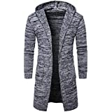 Men's Coat, LUNIWEI Men Fashion Slim Fit Hooded knit Sweater Fashion Cardigan Long Trench Tops Shirt Jacket (L, Gray)