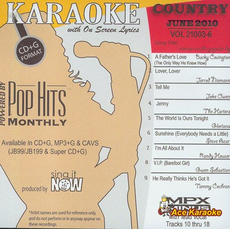 Chart Hits Monthly Country - June 2010 Karaoke CDG