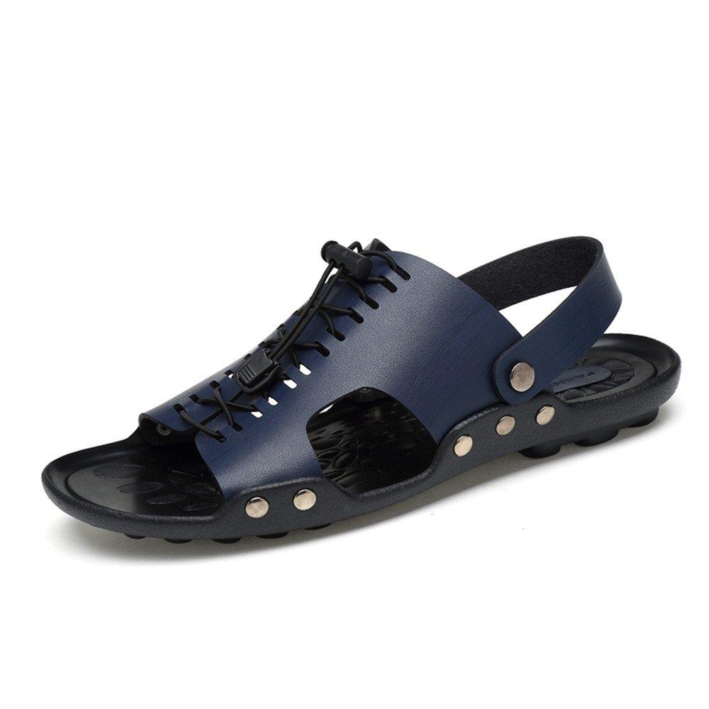 Sandalias para Hombres - Puntera Casual - A Prueba de Deslizamiento Personalidad Remache Deslizador de Playa de Doble propósito 38 EU|Azul
