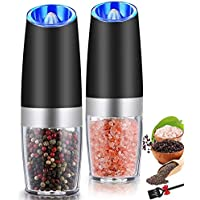 Gravity Electric Salt and Pepper Grinder Set,Rongyuxuan Automatic Pepper or Salt Mill Grinder Battery-Operated with…