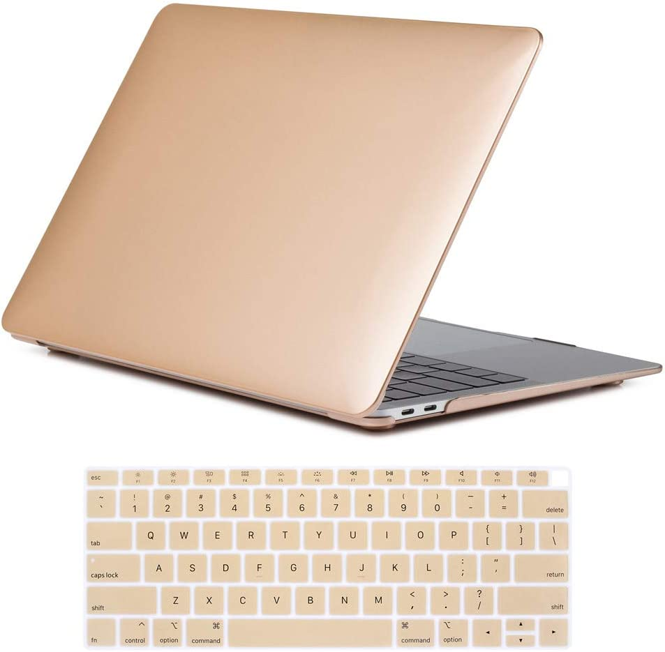 Se7enline 2018/2019/2021/2020 MacBook Air 13 Inch Case A1932/M1 A2337/A2179 Laptop Case Cover & Keyboard Cover Skin Protector Compatible with MacBook Air 13-Inch Retina Display Touch ID Version, Gold