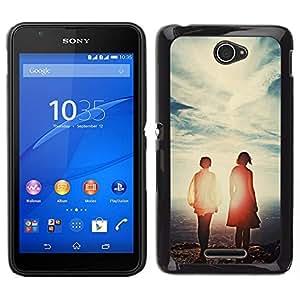 EJOY---Cubierta de la caja de protección para la piel dura ** Sony Xperia E4 ** --Cielo Pareja Love Sunset lindo verano caliente