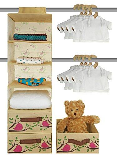 Nursery Closet Storage Organizer 20 Piece Set - Baby Closet Organization System - Hanging Storage for Nursery Essentials - Includes Collapsible storage Bins Hanging Shelf Mounting Studs -