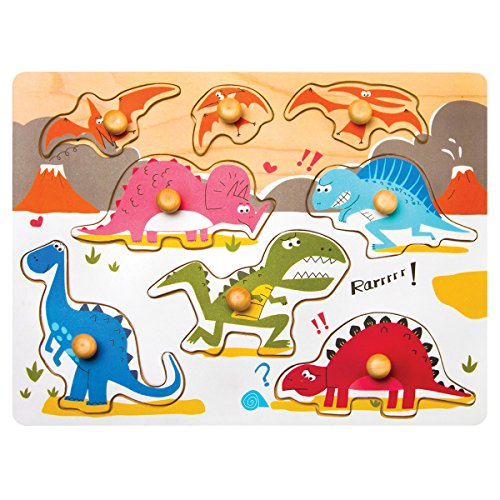 ROBOTIME Wooden Dinosaur World Peg Puzzle Easy-Hold Puzzle Game Baby & Toddler Toys for 1 2 3 Years(8pc)