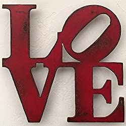 8x8 or 11x11 or 17x17 inch tall LOVE sign metal wall art - Choose your Patina Color and Size