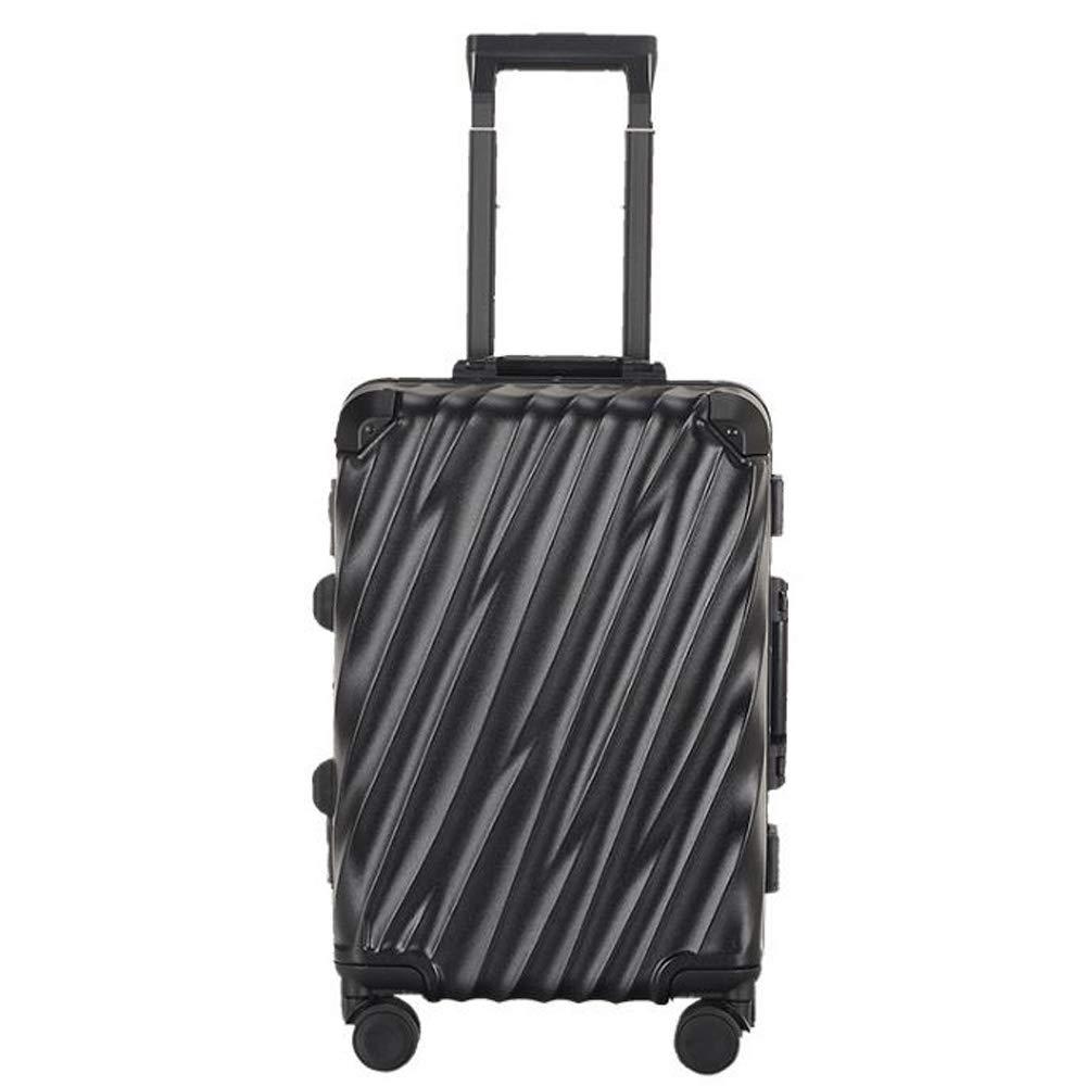スーツケースアルミフレームトロリーケースユニバーサルホイール搭乗スーツケース耐傷性 B07S4K1JDB Black