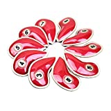 10pcs Crystal Pu Leather Golf Iron Head Covers Set Iron Club Headcover For Most Brand (Red)