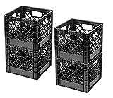 Buddeez MC01016BLK Milk Crates, 16-Quart, Black
