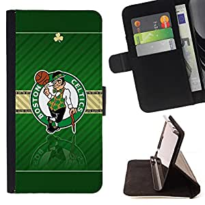 For HTC One M9 Boston Celtic Basketball Leather Foilo Wallet Cover Case with Magnetic Closure