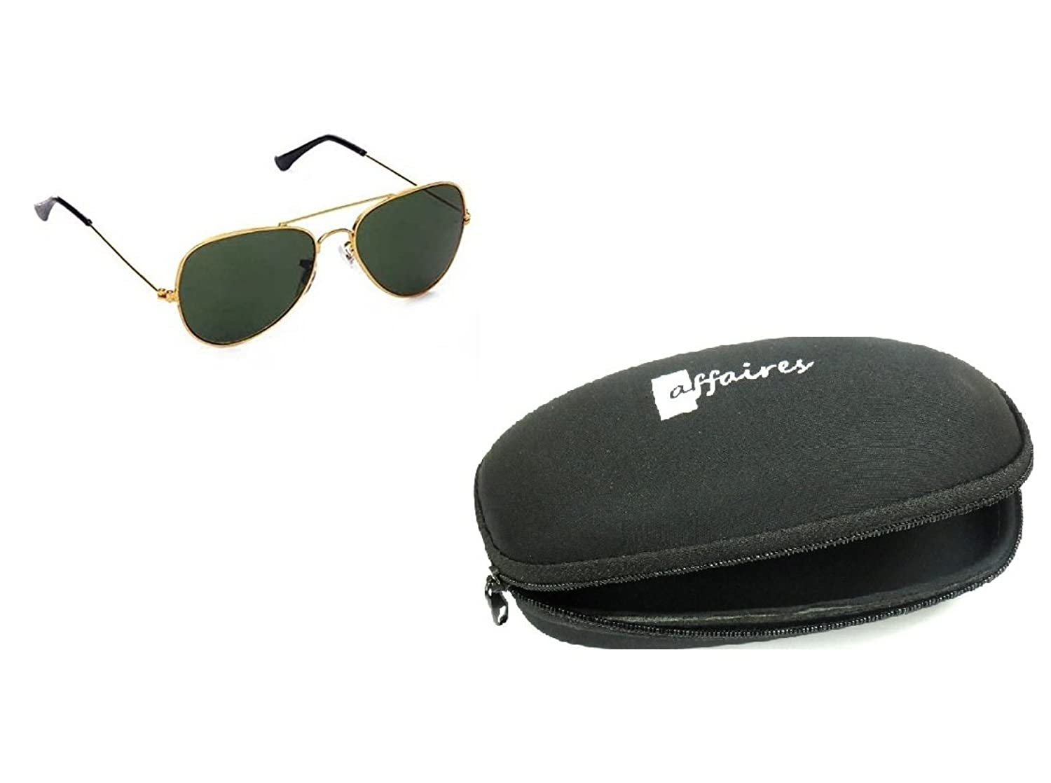 Affaires A-344 Aviator Sunglasses Golden-green Rb Style