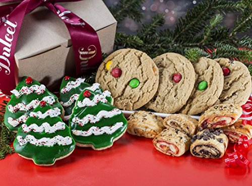Christmas Gifts-Dulcet's Holiday Gift Box- Includes Holiday Tree Cookies, M&M Cookies,and Assorted Rugelah- Unique Holiday Gifts (Desserts Christmas)