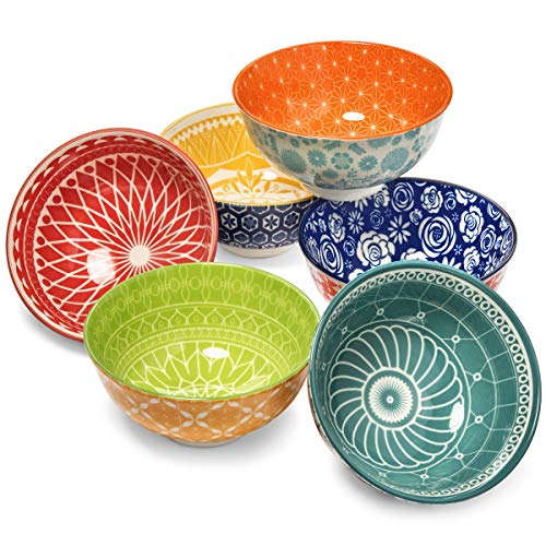 Annovero Dessert Bowls - Patterned Colorful Mix and Match Porcelain Dessert Bowl Set for Snacks, Soup, Rice, Side Dishes, or Ice Cream, 1.25 Cup Capacity, Set of 6