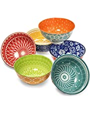 Annovero Dessert Bowls ? Set of 6 Small Porcelain Bowls for Snacks, Rice, Condiments, Side Dishes, or Ice Cream, 4.75 Inch Diameter, 10 Fluid Ounce (1.25 Cup) Capacity