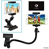 Universal Phone/Camera Holder with Flexible Gooseneck and Strong Clamp - for Mobile Photography, Recording Vlogs, Watching Videos, GPS Navigation, etc. - Ball and Socket Joint - Camera Tripod Mount