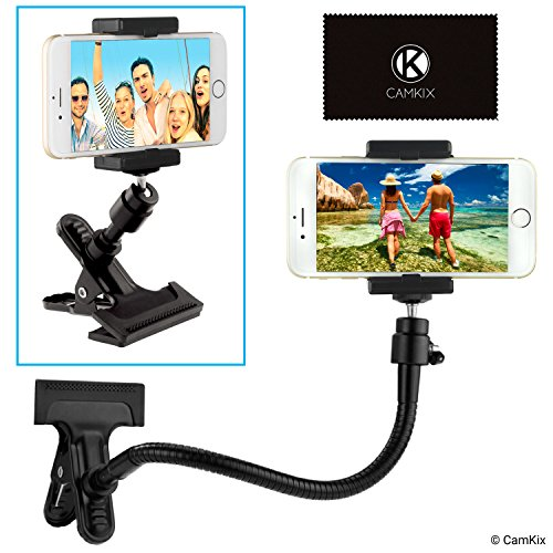 Universal Phone/Camera Holder with Flexible Gooseneck and Strong Clamp - for Mobile Photography, Recording Vlogs, Watching Videos, GPS Navigation, etc. - Ball and Socket Joint - Camera Tripod - Monitor Holder For Car
