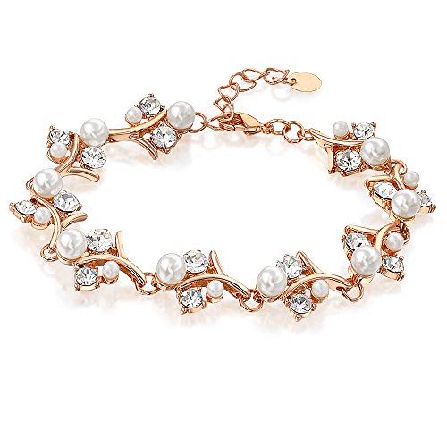 Mytys Pearl and Crystal Bangle Rose Gold Bracelet Womens Wedding (Pearl Gold Strand Bracelets)