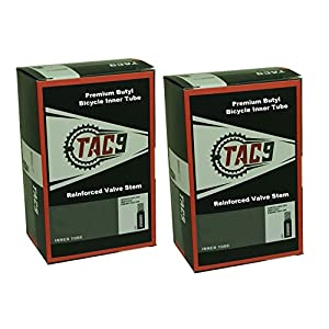 TAC 9 Bike Tubes, 26 x 1.95 2.125 Regular Valve 32mm With OPTIONAL rim strips and tire levers. Select the deal you desire!