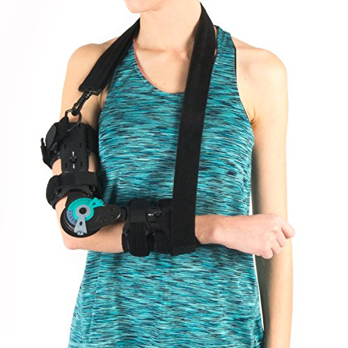 Soles Hinged Elbow Brace (Right Arm) - Support Post Op Injury Recovery, Rom Orthosis - Adjustable Range of Motion - One Size Fits All - (Right Elbow)