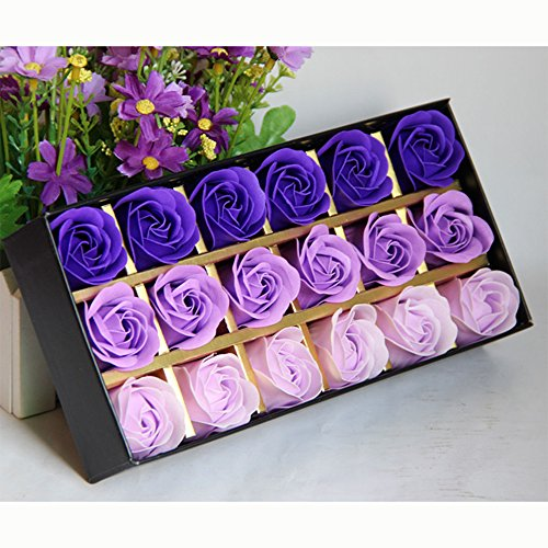 18pcs/box Gradient Purple Soap Flower Artificial Flower Scented Bath Soap Rose Flower Petals in Gift Box With Litter Bear