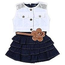 OWIKAR Baby Girls Denim Skirt Dress with Waistband and Sleeveless Jacket Sets Summer