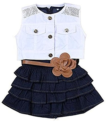 OWIKAR Baby Girls Denim Skirt Dress with Waistband and Sleeveless Jacket Sets Summer Navy Blue ()