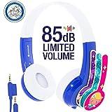 ONANOFF BuddyPhones Discover | Kids Headphones | Non-Foldable, Durable, Comfortable | Kids Safe Volume Limiting | Built in Audio Splitter | Blue