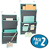 mDesign Soft Fabric Over the Door Hanging Storage Organizer - 4 Pockets in 2 Sizes and Magnetic Strip - Vertical Office Center for Home Office, Work Cubicle - Hooks Included, Pack of 2, Gray/Teal Blue