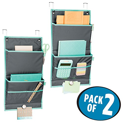 mDesign Soft Fabric Over the Door Hanging Storage Organizer - 4 Pockets in 2 Sizes and Magnetic Strip - Vertical Office Center for Home Office, Work Cubicle - Hooks Included, Pack of 2, Gray/Teal Blue by mDesign