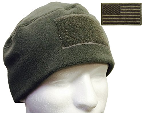 Go Commando Gear G.I. Type Tactical Polar Fleece Watch Cap and Patch Bundle (Foliage Green)