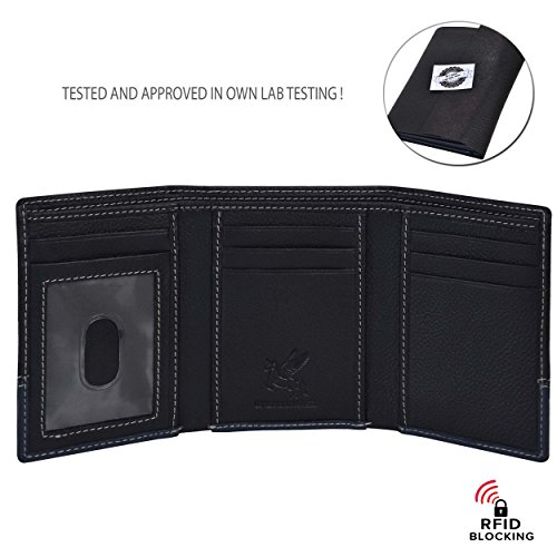RFID Leather Trifold Wallets for Men - Handmade Slim Mens Wallet 6 Credit Card ID Window and Gift Box Secure by EENHORRAN (Black & Navy) by EENHORRAN (Image #2)
