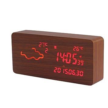 Clima Reloj de alarma Wifi de madera Reloj inteligente de cabecera Mute LED Reloj de alarma ...