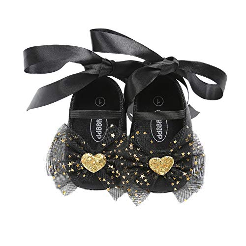 BOBORA Baby Girl Princess Shoes, Cute Mary Jane Shoes Bow Soft Sole Non-Slip First Walkers Shoes