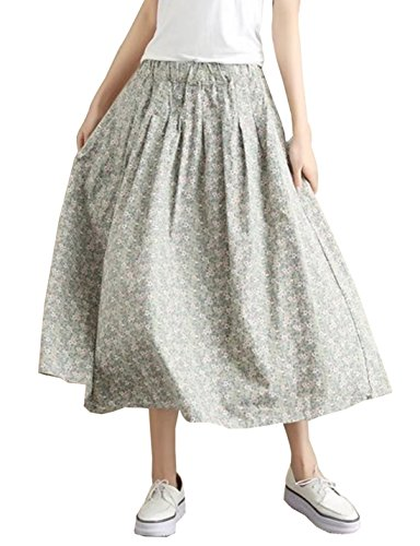 (Yimoon Women's Retro Floral Print Loose Pockets Cotton Skirt Elastic Waist Pleated Midi Swing Skirt (Light Green, One)