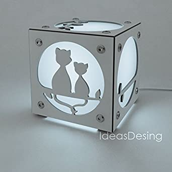 Cubo de Luz Gatos Personalizado, Color Blanco, LED RGB con mando a distancia: Amazon.es: Iluminación